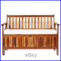 VidaXL Solid Acacia Wood Garden Storage Bench Hallway Chair Shoe Organizer