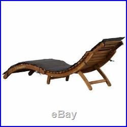 VidaXL Solid Acacia Wood Sun Lounger with Cushion Gray Outdoor Daybed Seat