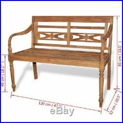 VidaXL Solid Teak Garden Bench Outdoor Wooden 2 Seater Patio Park Furniture
