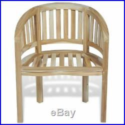 VidaXL Solid Teak Wood Chair Banana Halfmoon Shape Outdoor Garden Seat Lounger