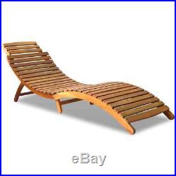 VidaXL Solid Wood Sunlounger Brown Patio Day Sub Bed Outdoor Garden Pool Chair