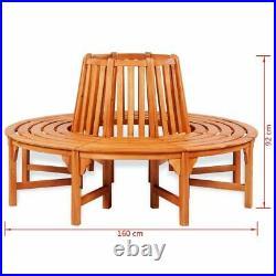 VidaXL Solid Wooden Tree Bench Surround Garden Furniture Outdoor Circular Seat