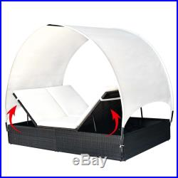 VidaXL Sun Lounger Poly Rattan Wicker Black 2-Person Garden Day Bed with Canopy
