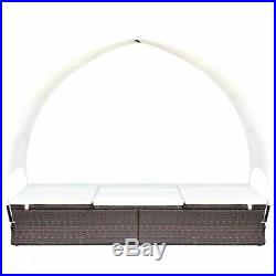 VidaXL Sunlounger Poly Rattan Wicker Brown 2-Person with Canopy Garden Day Bed