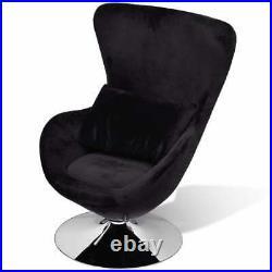 VidaXL Swivel Egg Chair with Cushion Black Velvet French Sofa Chair Armchair