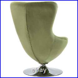 VidaXL Swivel Egg Chair with Cushion Light Green Velvet French Chair Armchair