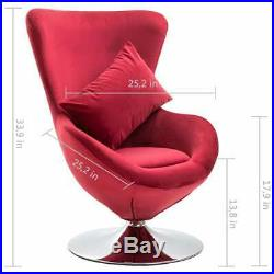 VidaXL Swivel Egg Chair with Cushion Red Velvet French Sofa Chair Armchair