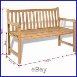 VidaXL Teak Outdoor Bench 47.2 Patio Chair Backyard Seat Garden Furniture