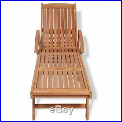 VidaXL Teak Wood Sunlounger Outdoor Garden Patio Daybed Recliner Chaise Lounge