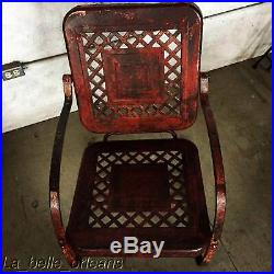 Vintage 1940's Metal Porch / Garden Glider Chair. Stunning Patina. Basket Wave