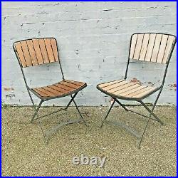 Vintage Industrial Outdoor Wood Iron Chair Folding Chairs Garden Cafe Restaurant
