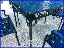 Vintage Neoclassical Cast Aluminum Dolphin / Koi Fish Garden Patio Set Rare
