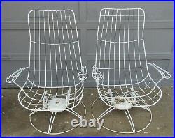 Vintage Pair Mid Century Modern Homecrest Patio Spring Rocking Lounge Chairs