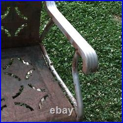 Vintage Pie Crust Design Metal Glider And Matching Chair