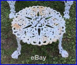 Vintage White Cast Iron Grapes / Grapevine Leaf Garden Bench Chair & Table 3 Pcs