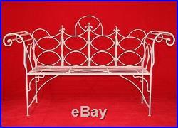Vintage Wrought Iron Gothic Priory Style Garden Bench Scroll Sofa White Sunroom