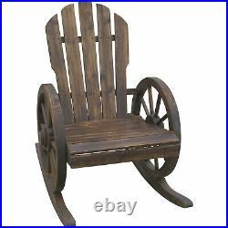 Wagon Wheel Rocker Rocking Chair Fir Wood Burnt Finish Porch Patio