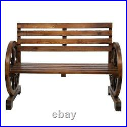Wagon Wheel Wooden Outdoor Bench Seat Chair Loveseat Patio Furniture