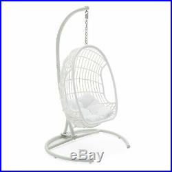 White Finish Resin Wicker Hanging Egg Patio Porch Swing Outdoor Home Furniture