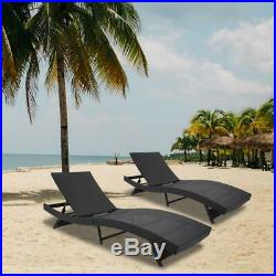 Wicker Chaise Outdoor Adjustable Chaise Lounge Chair Recliner Cushion Furniture