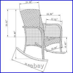 Wicker Outdoor Rocking Chair Porch Deck Rocker Patio Deck Furniture with Cushion