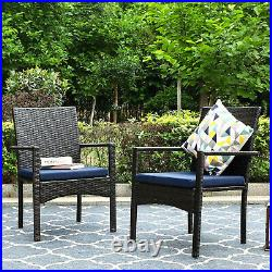 Wicker Patio Chairs Set of 4 Removable Cushion Outdoor Chairs Rattan Armchair