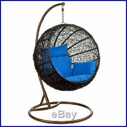 Wicker Rattan Hanging Egg Chair Swing for Indoor Outdoor Patio Backyard (Blue)