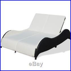 Wicker Rattan Sun Lounger 2 Persons Terrace Day Bed Patio Garden Outdoor Black
