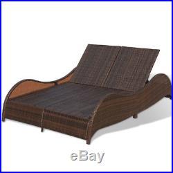 Wicker Rattan Sun Lounger 2 Persons Terrace Day Bed Patio Garden Outdoor Brown