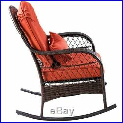 Wicker Rocking Chair Outdoor Porch Garden Lawn Deck Wicker All Weather Steel Fra