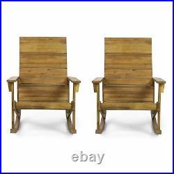 Winder Outdoor Acacia Wood Adirondack Rocking Chair, Set of 2