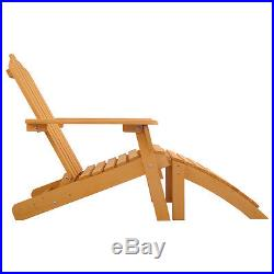 Wood Adirondack Chair with Ottoman Outdoor Patio Deck Garden Lounge Furniture