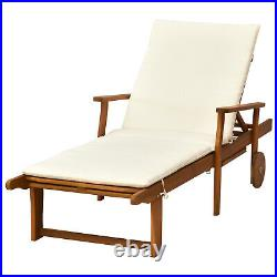 Wood Outdoor Folding Chaise Lounge Chair Recliner Sunbed