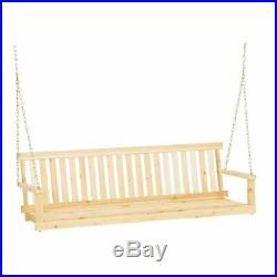 Wood Porch Swing 5 Feet Adirondack Style Garden Seat Classic Hanging Bench Patio