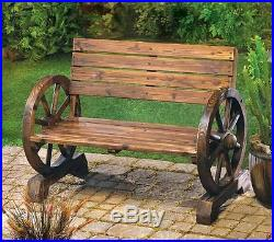 Wood wooden WAGON WHEEL garden park patio furniture BENCH chair country Yard