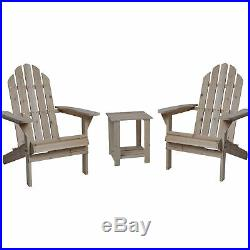 Wooden Adirondack Chairs with Table 3-Pc. Combo