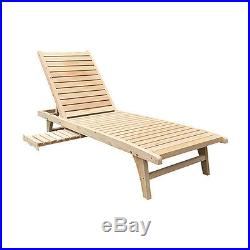 Wooden Chaise Lounge Outdoor/Indoor Patio Lawn Chair Adjustable Furniture
