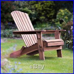 Wooden Garden Chair Adirondack Hardwood Outdoor Folding Patio Seat Plant Theatre