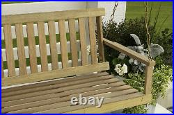 Wooden Porch Swing 5 ft Natural Wood Patio Outdoor Yard Garden Bench Hanging New