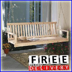 Wooden Porch Swing Natural Cypress 49 Width Patio Outdoor Garden Yard Lawn New