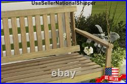 Wooden Porch Swing Natural Wood Patio Outdoor Yard Garden Bench Hanging WithChains