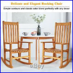 Wooden Rocking Chair Porch Rocker High Back Garden Seat For Indoor Outdoor Teak