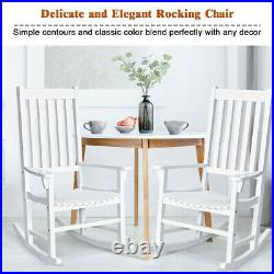 Wooden Rocking Chair Porch Rocker High Back Garden Seat For Indoor Outdoor White