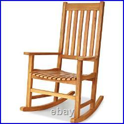 Wooden Rocking Chair Porch Rocker High Back Garden Seat Indoor Outdoor Yard Teak