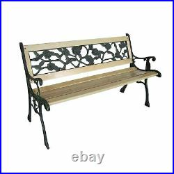 Wooden Steel Outdoor 3 Seater Garden Bench Park Patio Seat With Cast Iron Legs 2