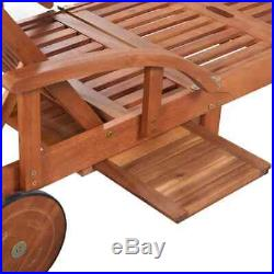 Wooden Sun Bed Daybed Outdoor Lounge Chair Beach Lawn Seat Patio Pool Adjustable