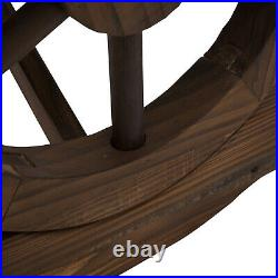 Wooden Wheel Bench Rustic Outdoor Patio Garden Seat 2-Person Loveseat