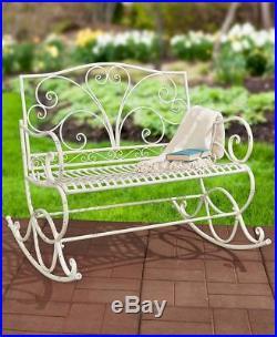 Wrought Iron Bench Rocking Rocker Patio Outdoor Porch Seat Deck Garden Furniture