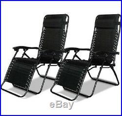 Zero Gravity Chairs Black Folding Set Outdoor Lawn Patio Pool Camping Deck Beach