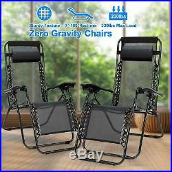 Zero Gravity Folding Chairs Case Of 1/2 Lounge Patio Chairs Beach Yard withPillow